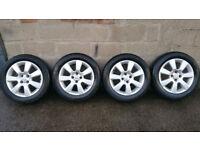 Vauxhall Genuine 16 alloy wheels + 4 x tyres 205 55 16