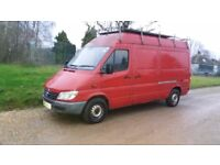 Mercedes sprinter van for sale with nearly a year m.o.t and could be used as a campervan