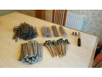 Assorted Tent pegs and awning ladders plus awning tension puller