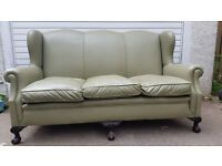 Green Leather Sofa and Arm Chairs