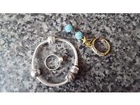 Pandora bracelet, Earrings and Rings