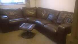 Brown Leather Corner Sofa with leather foot stool. £250