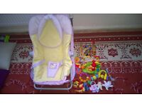 Baby rockers chair and toys for sale