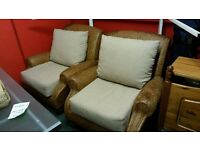 Pair of Rattan Wicker Armchairs with Cream Cushions - Conservatory