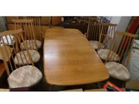 Vintage Ercol Grand Windsor Extending Plank Table With 6 Goldsmith Chairs,Delivery Possible