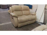 Cream leather 2 seater recliner sofa with 2 matching reclining armchairs