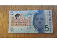 Bank of Scotland New Polymer £5 Five Pounds note **AA 416129**