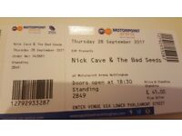 2 x Nick Cave & The Bad Seeds tickets (standing) Nottingham 28th Sep 2017