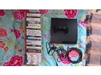 PlayStation 3, with 34 games, one controller, leads, HDMI cable x2 .