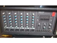 Fender PA system. SR6520P 6 Channel Powered Mixer, 2 Speakers and 2 Speaker Stands
