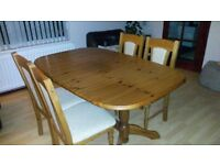 Solid Oak Extending Dining Table and Six Upholstered Chairs