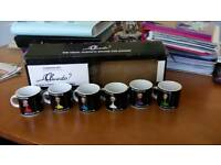 Brand new Cluedo espresso set six little cups and saucers still in box