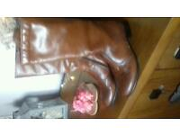 Brown leather boots size 3
