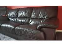 Three seater leather sofa.
