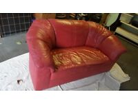 red leather double sofa in excellent condition