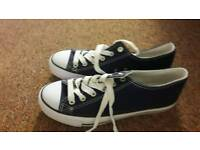 Blue canvase trainers size 7