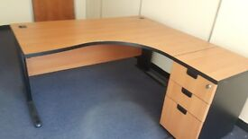Executive managers office desk with matching desk high pedistal
