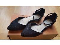 Debut Black Ladies flat sequin shoes size UK5, Eur 38