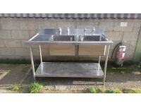 Commercial Double Sink with taps / plugs - great condition - only a year old