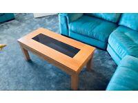 Oak veneered coffee table