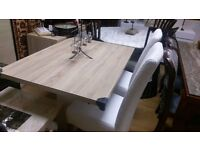 Beautiful Designer Mark Webster Harlequin ash oak and white gloss dining table & chairs 4 or 6