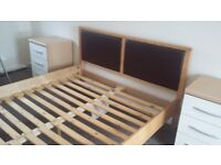 King size bed solid beech and leather