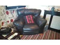 Large 2 Seater Sofa and 1 chair black leather