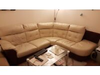 Leather corner sofa, average condition for 6 years