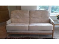 Ercol style suite comprising 1 sofa and 2 chairs