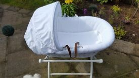 White Baby Crib/Basket, Hood & Mattress with Stand