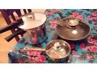 Pressure cooker, nonstick pan and saucepan