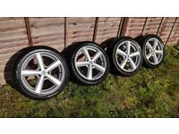 R17 5x110 Team Dynamics Cyclone alloy wheels with tyres 7jj Vauxhall