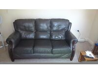 3 seater settee and 2 chairs italian lever chocolate brown