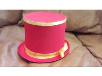 Adult fancy magician collapsible top red hat. Folding luxury hat.