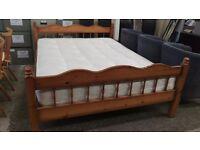 Pine king-size bed frame with princeton mattress