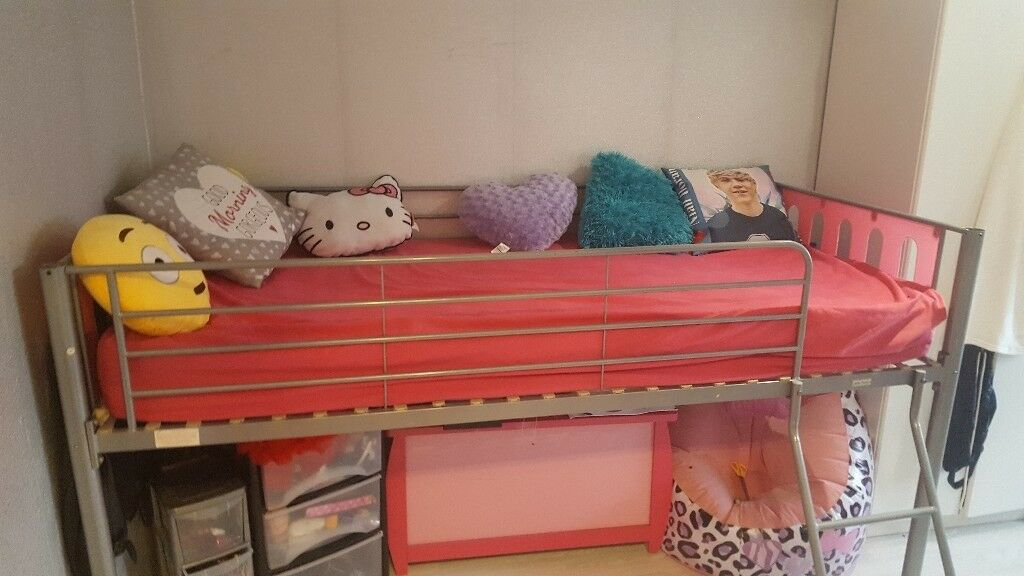 CHILDS MID SLEEPER CABIN BED METAL SILVER AND PINK GOOD CONDITION ...