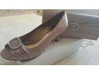 Taupe shoes size 4 & matching handbag