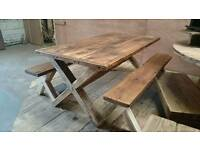 Rustic dining tables and dining table sets chunky solid wood