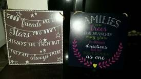 Family and friend hanging signs