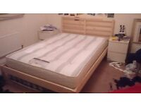 Tarva pine bed frame+ double mattress(can be sold separately)