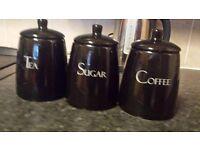 Black ceramic canisters