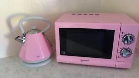 Pink kettle & microwave