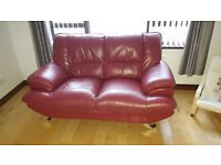 Reids Red Leather 3 & 2 Seater Sofa