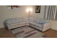 Ex-display Mustang light grey leather electric recliner corner sofa