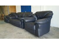 DARK BLUE REAL LEATHER SET 3 SEATER SOFA / SETTEE / SUITE & 2 CHAIRS / ARMCHAIRS DELIVERY AVAILABLE