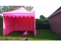 3m x 3m pink commercial gazebo with side walls, leg weights and pegs