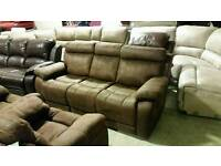 Brown suede 3 seater sofa and 2 chairs
