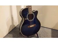 LINDO 'BLUE SHARK ' ELECTRO-ACOUSTIC GUITAR – BLUE - COLLECTION ONLY.