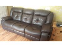 Leather recliner sofa and electric recliner