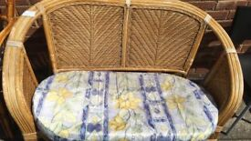 CANE SOFA WITH SEAT PAD